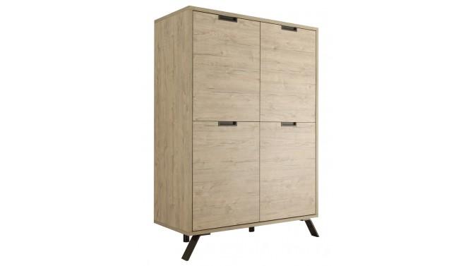 Buffet haut moderne 4 portes bois clair - Vram