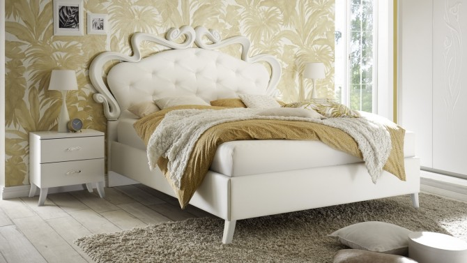 Lit blanc baroque 160x200 cm capitonné - Velia