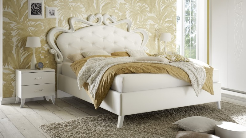 lit capitonn 160x200 cm simili cuir blanc baroque velia gdegdesign. Black Bedroom Furniture Sets. Home Design Ideas