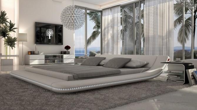 Lit design LED simili cuir blanc 140x190 cm - Apex