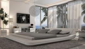 Lit design LED 200x200 cm en simili blanc - Apex