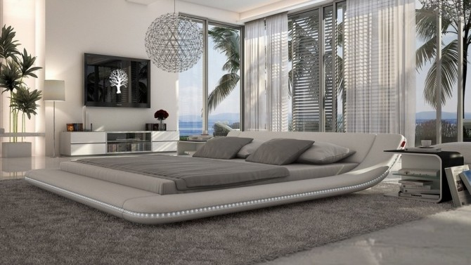 Lit design lumineux 160x200 en simili cuir blanc Apex - GdeGdesign