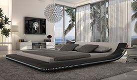 Lit simili cuir 200x200 cm blanc et noir LED - Apex