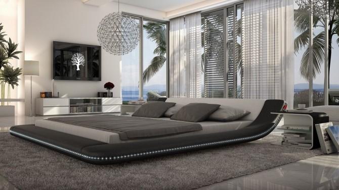 Lit moderne 160x200 cm blanc et noir en cuir simili avec LEDs - Apex