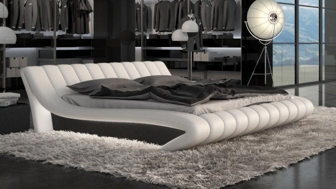 Lit 140x190 cm en simili cuir blanc et noir - Brewer