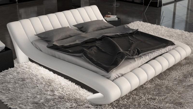 lit lumineux simili cuir blanc et noir 140x190 cm brewer gdegdesign. Black Bedroom Furniture Sets. Home Design Ideas