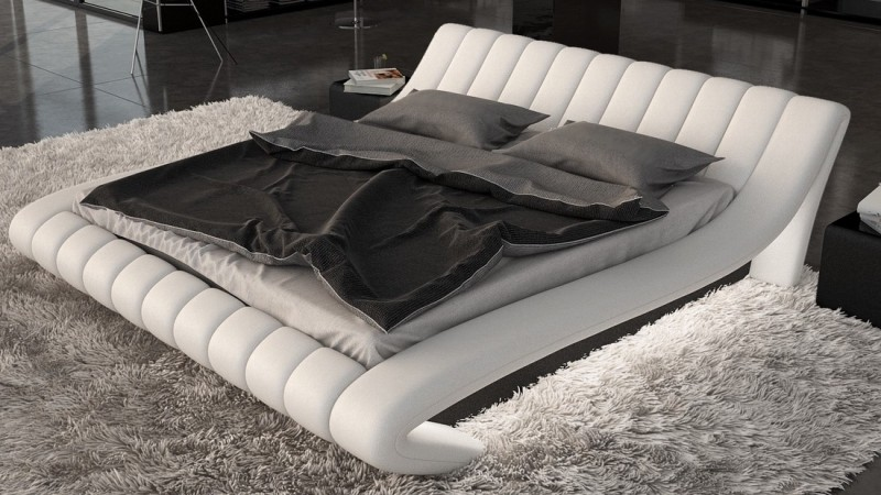 lit lumineux simili cuir blanc et noir 140x190 cm brewer gdegdesign. Black Bedroom Furniture Sets. Home Design Ideas