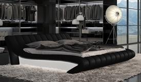 Lit 140x190 cm simili cuir noir et blanc - Brewer