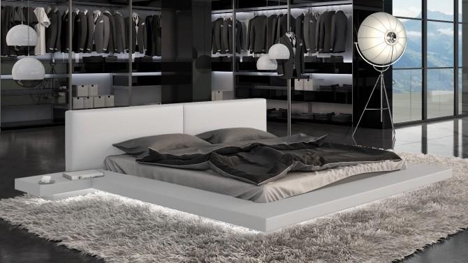 Lit 140x190 cm blanc avec éclairage LED - Kiara