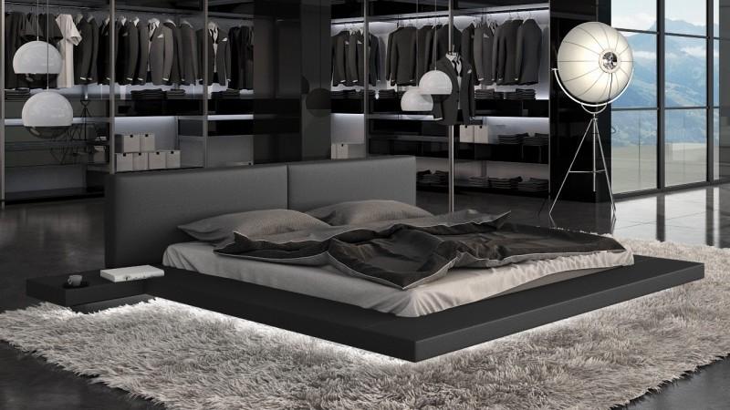 lit design 140x190 cm en simili cuir noir avec led kiara gdegdesign. Black Bedroom Furniture Sets. Home Design Ideas