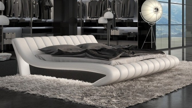 Lit design 160x200 cm blanc et noir matelassé - Brewer