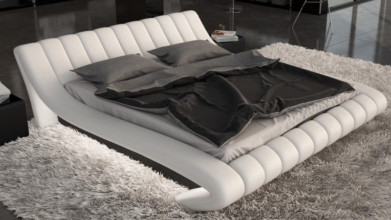 lit design blanc et noir 160x200 cm en simili lumi re brewer gdegdesign. Black Bedroom Furniture Sets. Home Design Ideas