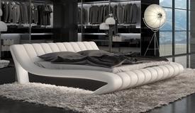 Lit LED matelassé blanc et noir 200x200 cm - Brewer