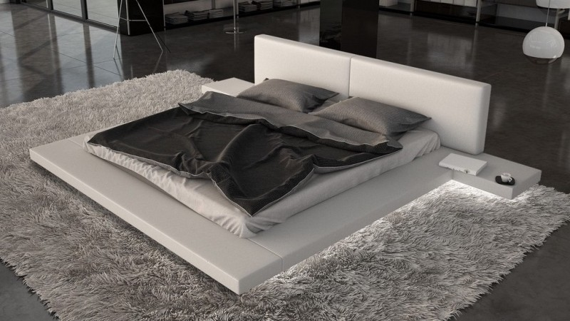 lit design simili blanc 160x200 cm avec clairage led kiara gdegdesign. Black Bedroom Furniture Sets. Home Design Ideas