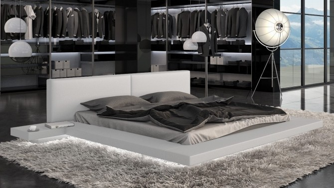 lit design simili blanc 160x200 cm avec clairage led. Black Bedroom Furniture Sets. Home Design Ideas