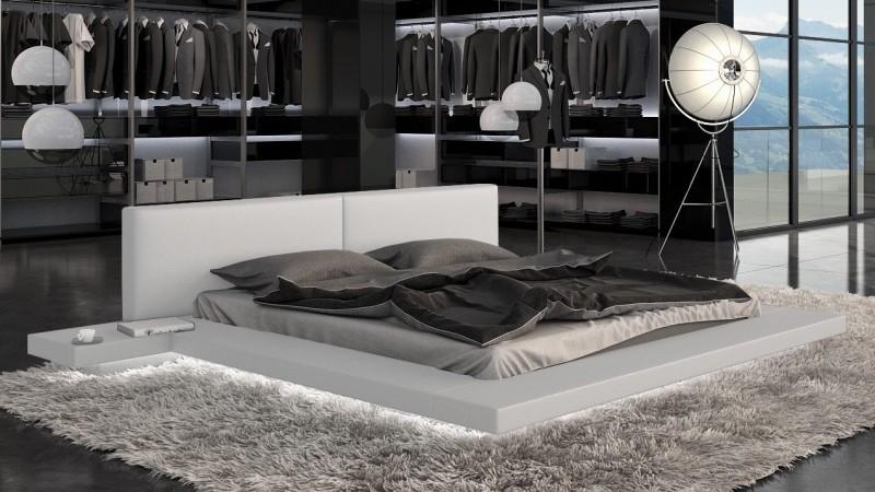 lit design simili blanc 160x200 cm avec clairage led kiara gdegdesign. Black Bedroom Furniture Sets. Home Design Ideas