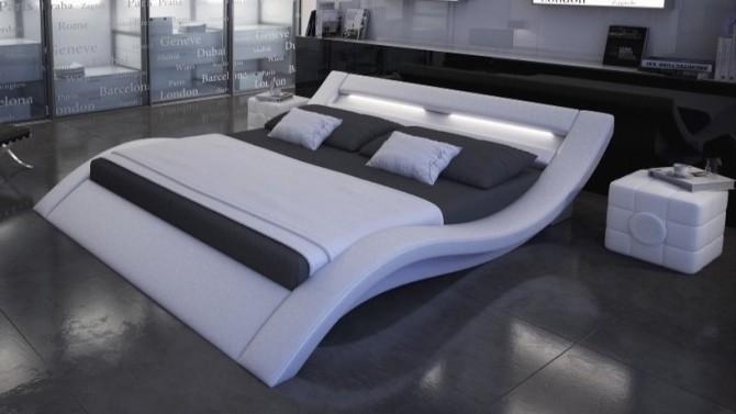 Lit design 140x190 cm blanc avec lumière - Ozark