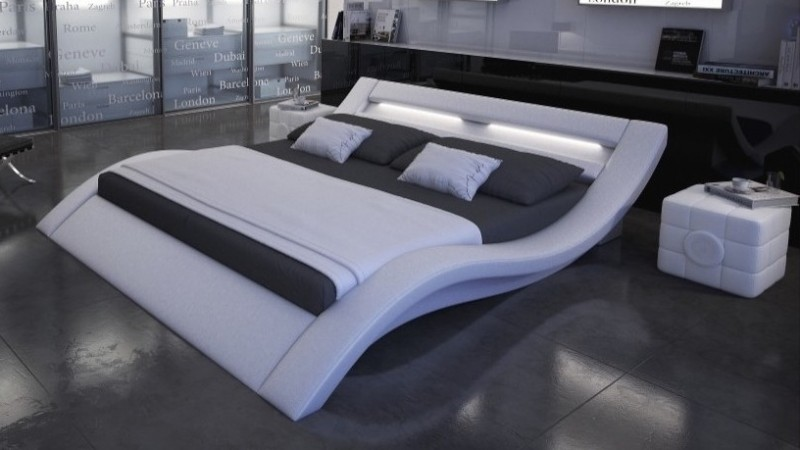 lit lumineux design 140x190 cm simili blanc ozark gdegdesign. Black Bedroom Furniture Sets. Home Design Ideas