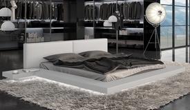 Lit lumineux cuir simili blanc 200x200 cm - Kiara