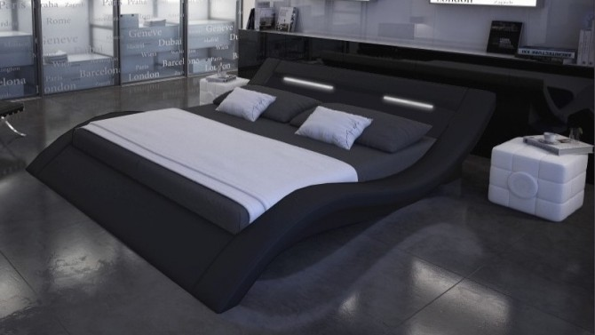 lit design 140x190 cm cuir simili noir avec lumi re ozark. Black Bedroom Furniture Sets. Home Design Ideas