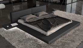 Lit noir LED simili design 180x200 cm - Kiara