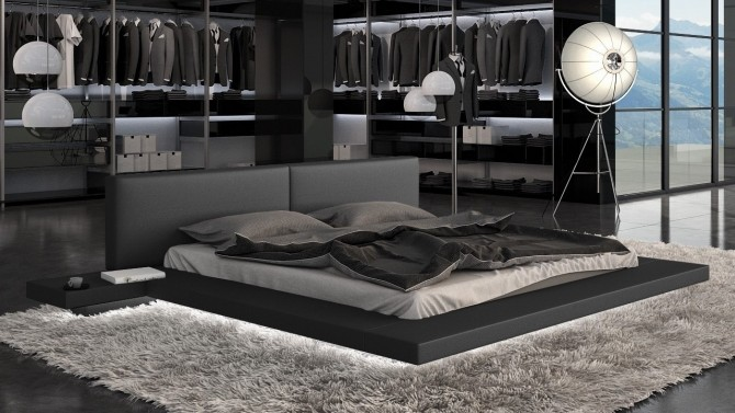 Lit noir LED en simili cuir design 180x200 cm - Kiara