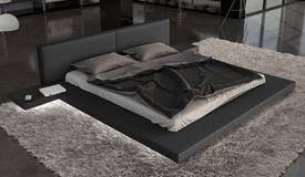 Lit simili cuir noir avec éclairage 200x200 - Kiara