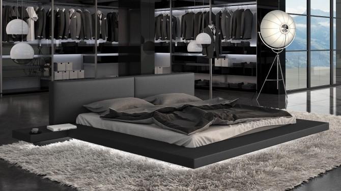 Lit simili cuir noir avec éclairage 200x200 cm - Kiara