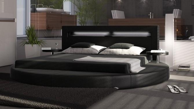 Lit rond design 140x190 cm noir avec éclairage - Uster