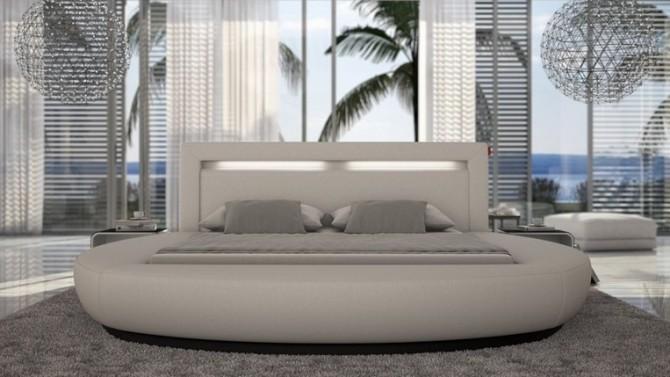 Lit rond design 160x200 cm blanc avec éclairage intégré - Kovel
