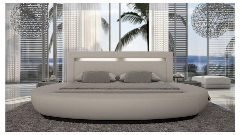 lit moderne rond simili cuir blanc kovel lumi re 160x200. Black Bedroom Furniture Sets. Home Design Ideas