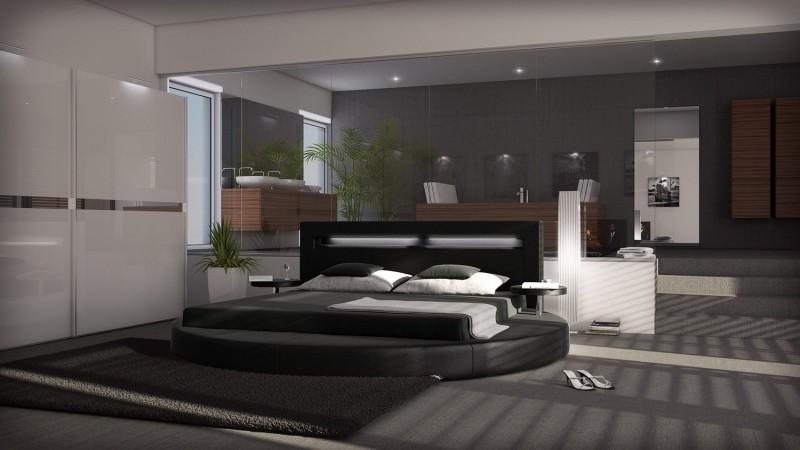 lit design rond noir simili 140x190 cm lumi res uster. Black Bedroom Furniture Sets. Home Design Ideas