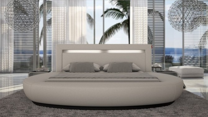 Lit Blanc Contemporain Arrondi 200x200 Cm   Kovel