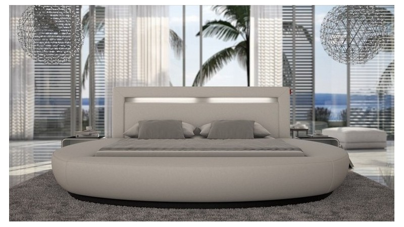 lit rond simili cuir blanc 200x200 cm arrondi kovel gdegdesign. Black Bedroom Furniture Sets. Home Design Ideas