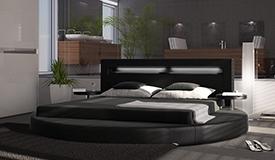 Lit rond simili cuir noir 200x200 cm avec LED - Uster