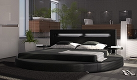 Lit rond simili cuir noir 200x200 cm LED - Uster