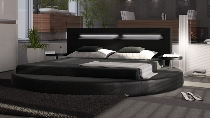 lit led lumineux rond 200x200 cm simili cuir noir uster. Black Bedroom Furniture Sets. Home Design Ideas