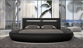 Lit rond 200x200 cm simili cuir noir avec LED - Kovel