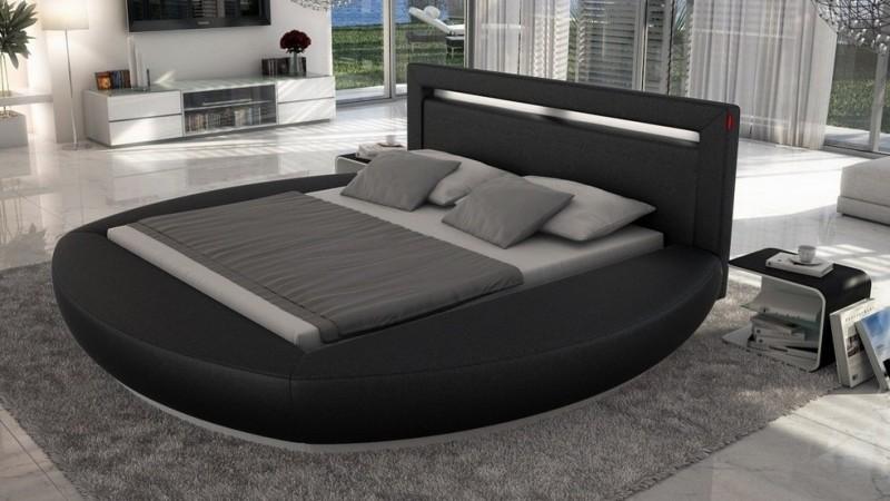 Lit Led Simili Cuir Noir 200x200 Cm Forme Arrondie Kovel Gdegdesign