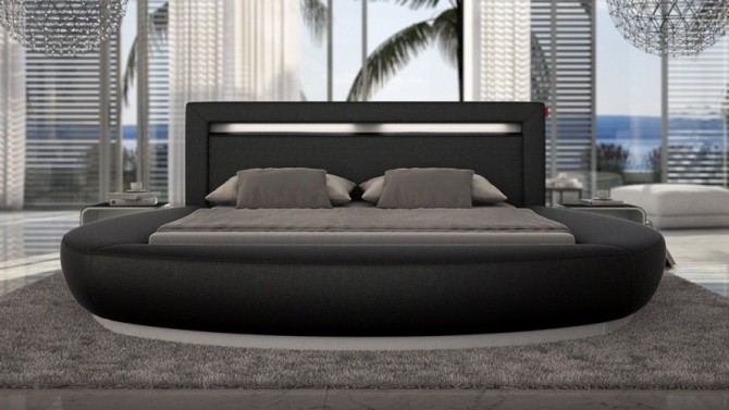 Lit rond design 160x200 cm noir avec éclairage intégré - Kovel
