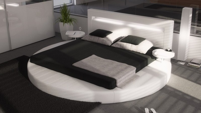 lit rond design 160x200 en simili blanc avec clairage uster gdegdesign. Black Bedroom Furniture Sets. Home Design Ideas