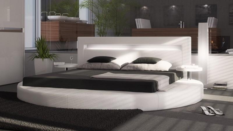 Lit Rond Design X En Simili Blanc Avec éclairage Uster - Lit rond 160x200