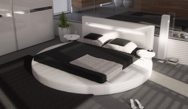 Lit LED simili cuir blanc 200x200 arrondi - Uster