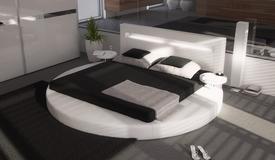 Lit simili cuir blanc 200x200 cm arrondi avec LED - Uster