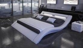 Lit lumineux 200x200 cm cuir simili blanc - Ozark