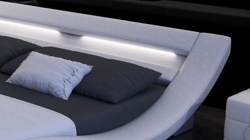 lit design blanc 200x200 cm lumineux en similicuir ozark. Black Bedroom Furniture Sets. Home Design Ideas