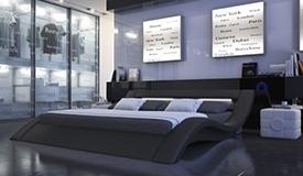 Lit design simili cuir noir 200x200 cm - Ozark