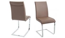 Chaise en simili cuir taupe design - Diane
