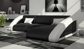 Canapé d'angle cuir + simili noir et blanc - Hays