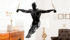 Statue décorative suspendue noire - Lance